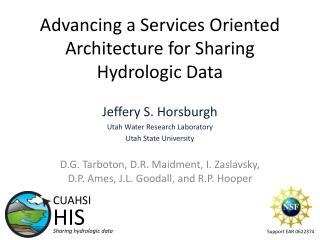 Advancing a Services Oriented Architecture for Sharing  Hydrologic Data