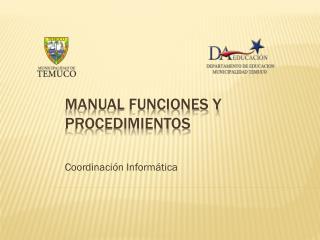 Manual funciones y procedimientos