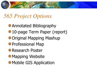 565 Project Options