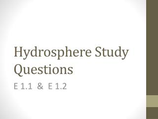 Hydrosphere Study Questions