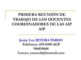 PRIMERA REUNI N DE TRABAJO DE LOS DOCENTES COORDINADORES DE LAS AIP AIP