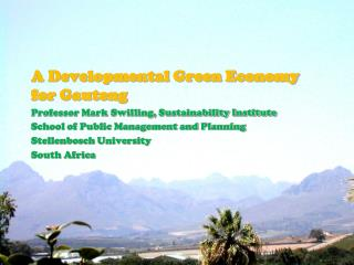 A Developmental Green Economy for Gauteng Professor Mark Swilling, Sustainability Institute