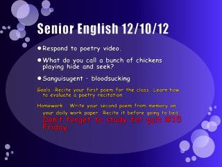Senior English 12/10/12