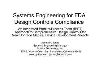 Systems Engineering for FDA Design Controls Compliance