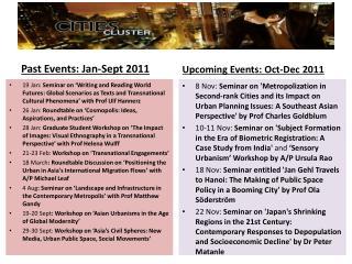 Past Events:  Jan -Sept  2011