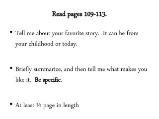 Read pages 109-113.