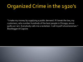 Organized Crime in the 1920's
