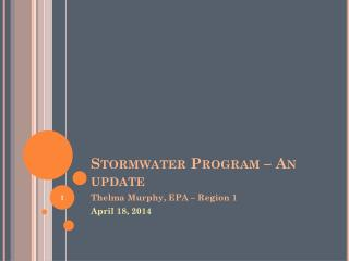 Stormwater Program – An update