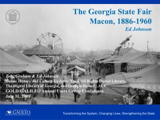 The Georgia State Fair Macon, 1886-1960 Ed Johnson