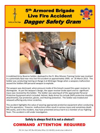 5 th  Armored Brigade Live Fire Accident Dagger Safety Gram