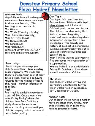 Dewstow  Primary School Plaza  Hydref  Newsletter
