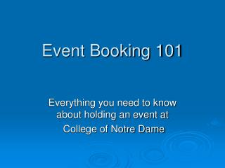 Event Booking 101