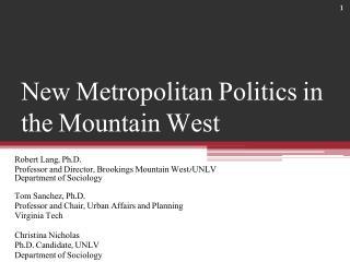 New Metropolitan Politics in the Mountain West