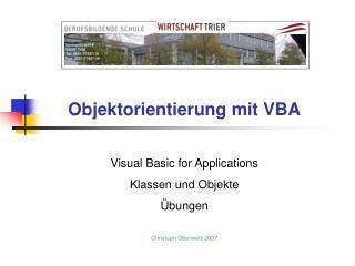 Objektorientierung mit VBA