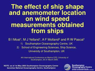 The effect of ship shape and anemometer location on wind ...