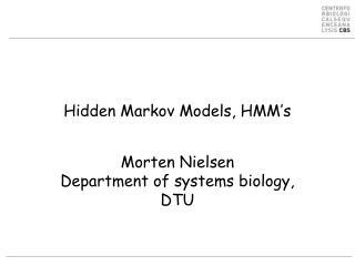 Hidden Markov Models, HMM's