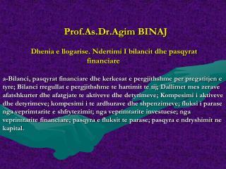 Kontabilitet Financiar - Leksion i 10 - Agim Binaj