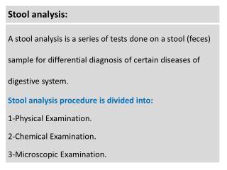 Stool analysis:
