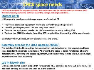 LHCb space needs