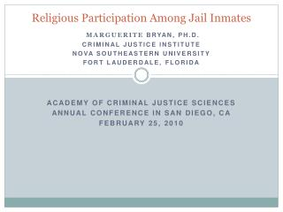 Religious Participation Among Jail Inmates
