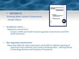 NSF/ANSI 61 Drinking Water System Components - Health Effects