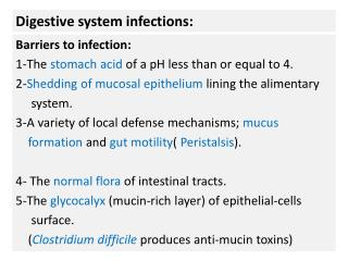 Digestive system infections: