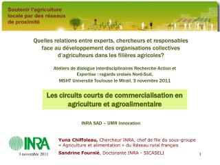 Les circuits courts de commercialisation en agriculture et agroalimentaire