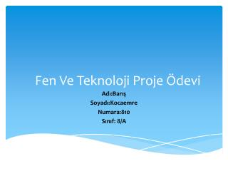 Fen Ve Teknoloji Proje Ödevi