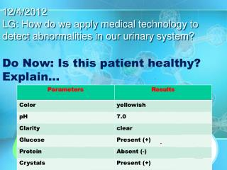 12/4/2012 LG: How do we apply medical technology to detect abnormalities in our urinary system?