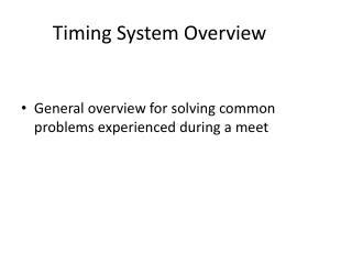 Timing System Overview