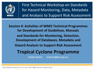 Session 4: Activities of WMO Technical Programmes for Development of Guidelines, Manuals