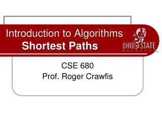 Introduction to Algorithms Shortest Paths
