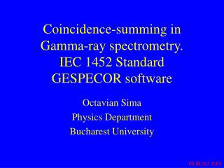 Coincidence-summing in  Gamma-ray spectrometry. IEC 1452 Standard GESPECOR software