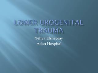 LOWER UROGENITAL TRAUMA