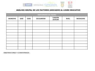 ANÁLISIS GRUPAL DE LOS FACTORES ASOCIADOS AL LOGRO EDUCATIVO
