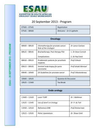 ESAU – 20 SEPTEMBER 2013 - PROGRAM