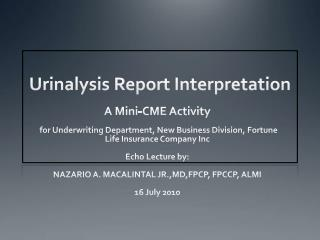 Urinalysis Report Interpretation