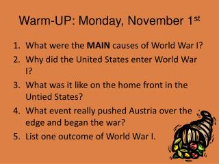 Warm-UP: Monday, November 1 st