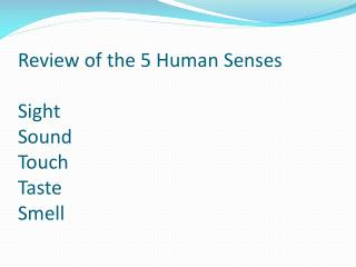 Review of the 5 Human Senses Sight Sound Touch Taste Smell