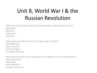 Unit 8, World War I & the Russian Revolution