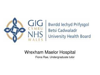Wrexham Maelor Hospital Fiona Rae, Undergraduate tutor