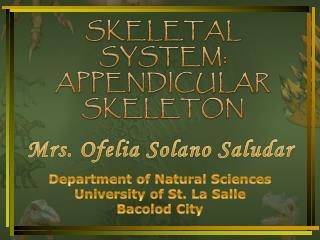 SKELETAL  SYSTEM: APPENDICULAR SKELETON