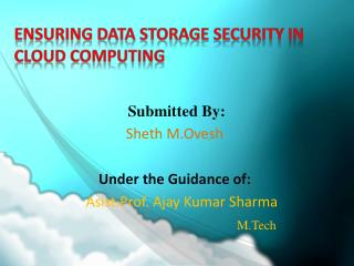 Ensuring data storage security in  cloud computing