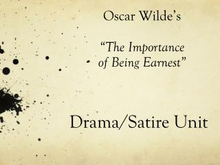 "Oscar Wilde's  ""The Importance  of Being Earnest"""