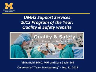 UMHS Support Services  2012 Program of the Year:  Quality & Safety website