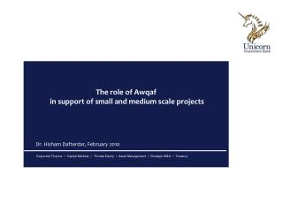 The role of Awqaf  in support of small and medium scale projects