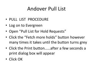 Andover Pull List