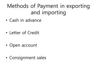 Methods of Payment in exporting and importing