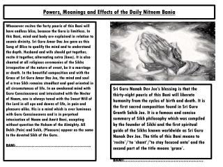 Powers, Meanings and Effects of the Daily  Nitnem Bania
