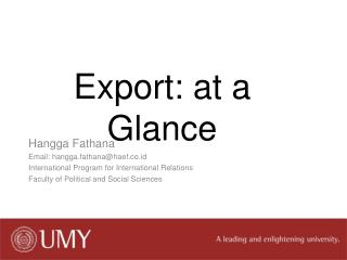 Export: at a Glance